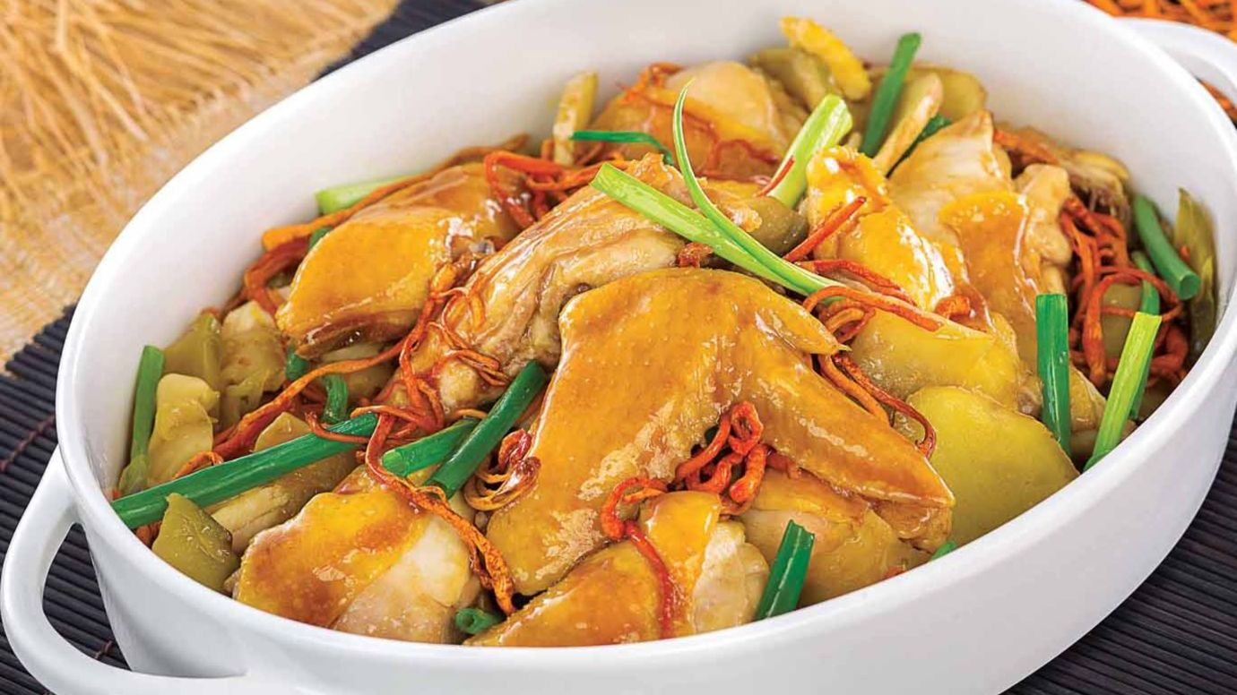 Steamed Chicken with Caterpillar Mushroom and Preserved Mustard Vegetable